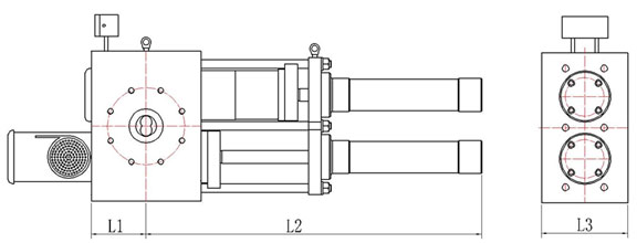 double piston hydraulic screen changer with round screens drawing