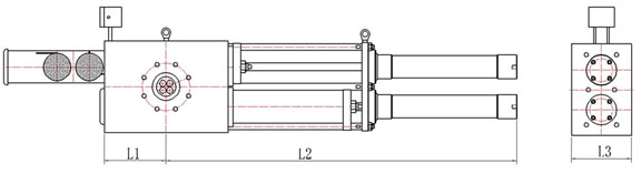 double piston screen changer with four cavities drawing