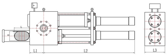 double piston hydraulic screen changer with elipse screens drawing