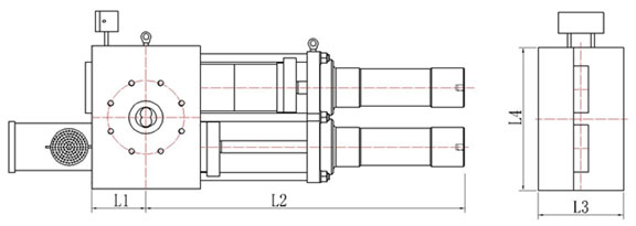 drawing of double plate screen changer
